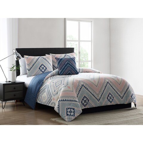 Asher Home Sally Blue and Pink Tribal Print Comforter Set