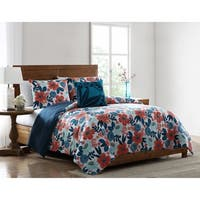 Asher Home Providence Red and Blue Floral Comforter Set