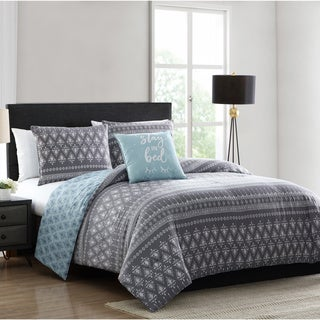 Porch & Den Ladyfern Blue and Grey Geometric Print Comforter Set