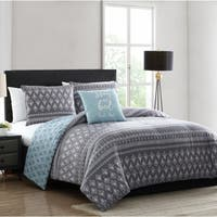 Asher Home Diego Blue and Grey Geometric Print Comforter Set