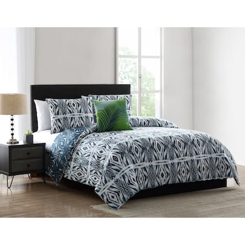 Asher Home Preston Blue Geometric Print Comforter Set