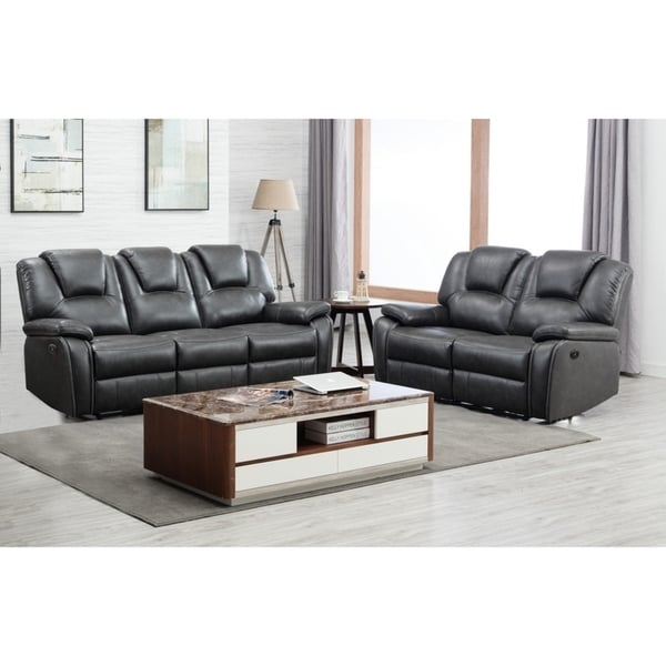 Sofa Sets Sale: Shop Grey Leather Upholstered 2 Piece Sofa Set