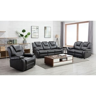 Grey Leather Upholstered Power 3 Piece Sofa set