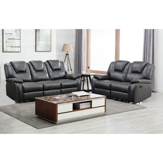 Grey Leather Upholstered Power 2 Piece Sofa set