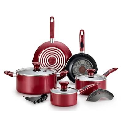 T-Fal B039SE64 Excite 14-Piece Non-stick Cookware Set, Red