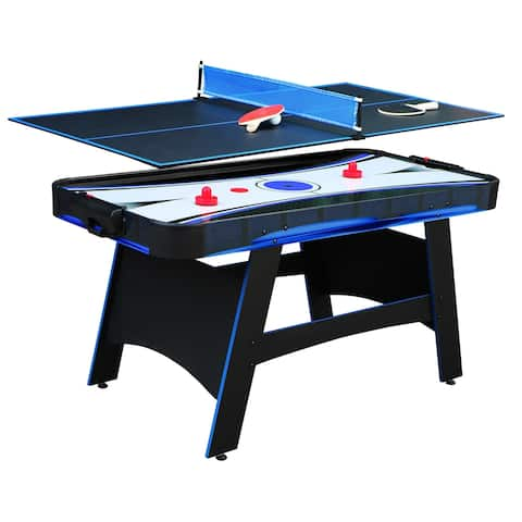 Bandit 5-ft Air Hockey Table with Table Tennis Top - Black/Blue