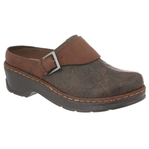 Klogs Austin Womens Clog Shoes Brown Flower Tooled