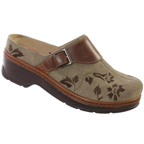 Klogs Austin Womens Clog Shoes Taupe Suede Tapestry