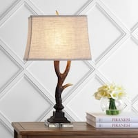 """Antler 29.5"""" Rustic Resin/Crystal LED Table Lamp, Brown/Clear by JONATHAN  Y"""