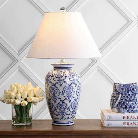 """Juliana 26.25"""" Chinoiserie Ceramic LED Table Lamp, Blue/White by JONATHAN Y"""