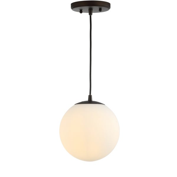 "Bleecker 7.75"" Metal/Glass Globe LED Pendant, White/Oil Rubbed Bronze by JONATHAN Y"