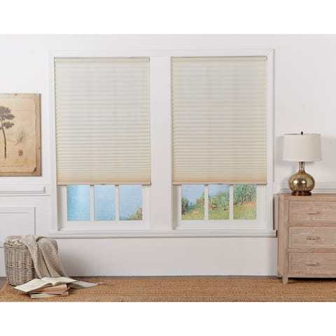 Copper Grove Yerevan Ecru Light-filtering Pleated Shade (72 in.)