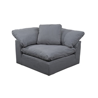 Sunset Trading Cloud Puff Sofa Sectional Arm Chair Slipcover - Performance Fabric - Gray