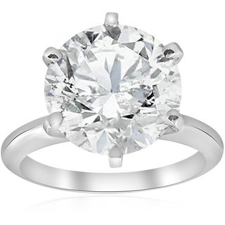 Bliss 14k White Gold 4 ct TDW Solitaire Diamond Engagement Ring Clarity Enhanced