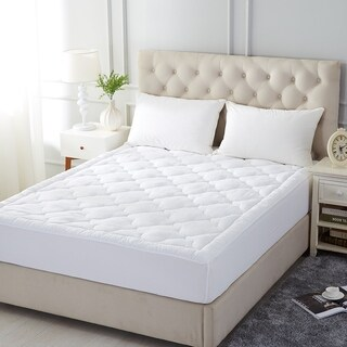 Quilted Mattress Pad Cover Stretches - Fitted Mattress Topper Cover - White