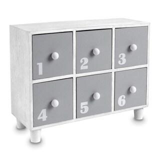 Ikee Design Gray Wooden Desktop Office Supplies Storage Organizer, 6 Drawers