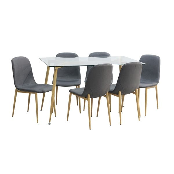 Shop Mid Century Modern Glass Dining Table with Foot Pad ...