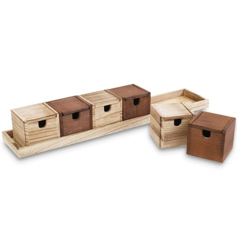 Ikee Design Wooden Multipurpose Desktop Organizer Box with Lid, 6 Boxes with a Tray