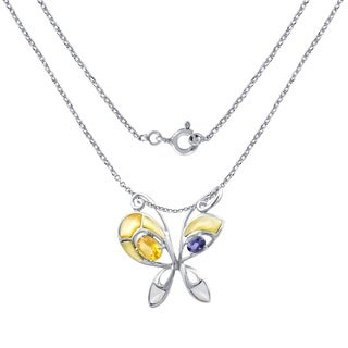 2.40 Carat Mop,Citrine,Iolite Sterling Silver Butterfly Pendant For Women