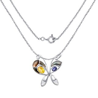 Sterling Silver Butterfly Style Pendant 2.40 Cts Mop,Citrine & Iolite