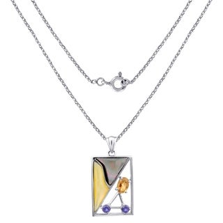 Sterling Silver Rectangle Pendant 1.25 Cts Multi Color Mop,Citrine & Iolite