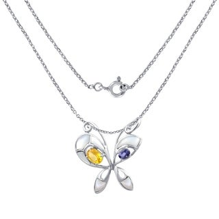 Sterling Silver 2.10 Cts White Mop,Citrine & Iolite Butterfly Pendant By Orchid Jewelry