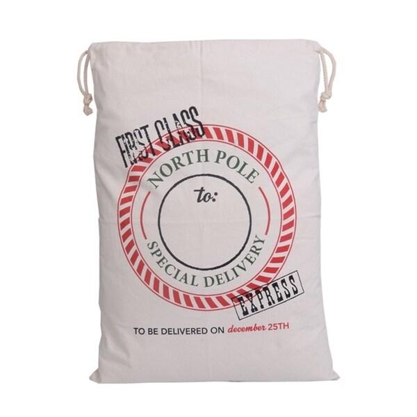 High Capacity Santa Present Sack Canvas Bulk Christmas Bags With Drawstring White