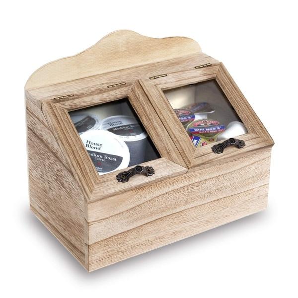 Shop Ikee Design 2 Compartments Wooden Kitchen Storage ...