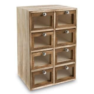 Ikee Design Wood Office Supplies Storage Case w/ Glass Window