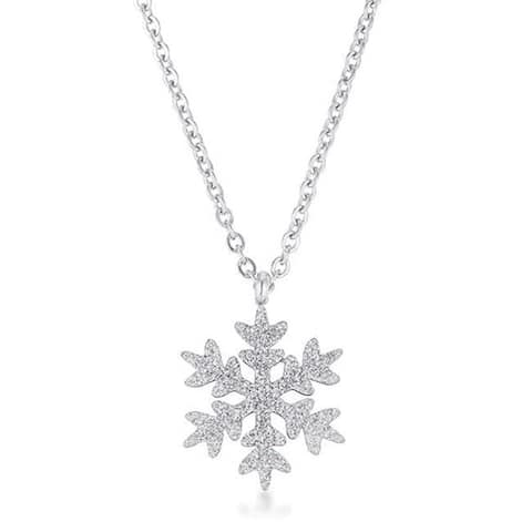 Stainless Steel Snowflake Necklace Gift in Rhodium Plating, 18 inch