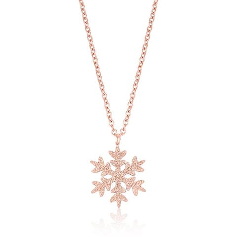 Stainless Steel Snowflake Necklace Gift in Rose Gold Plating, 18 inch