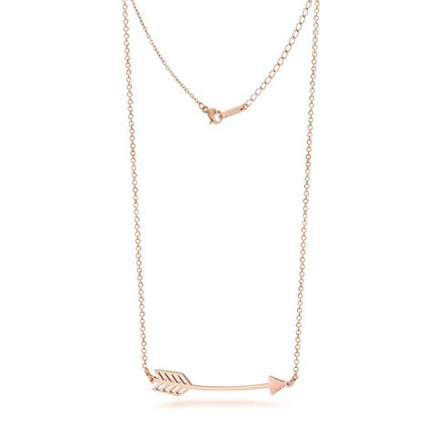 """Stainless Steel Love Arrow Necklace in Rose Gold, Rhodium Plating, 16"""""""
