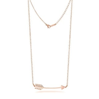 Stainless Steel Love Arrow Necklace In Rose Gold Rhodium Plating 16