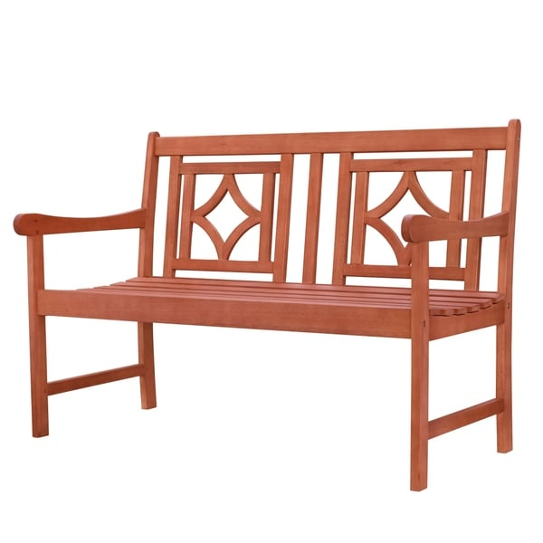 Hydaburg Outdoor Patio Diamond 4-foot Eucalyptus Hardwood Bench by Havenside Home. Opens flyout.