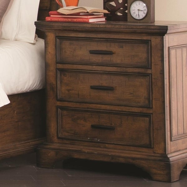 Wooden Nightstand with 3 Drawers with Bracket Leg Support, Brown
