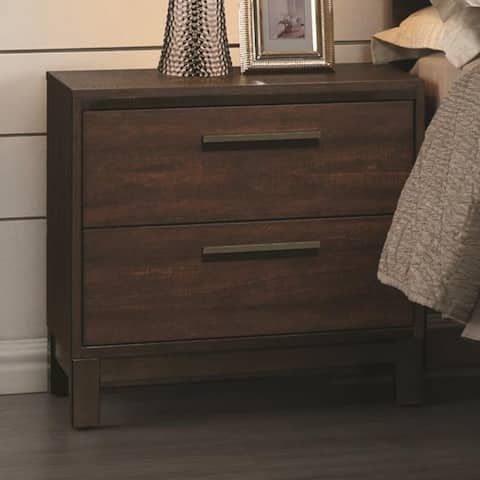 Wooden Nightstand with Two Drawers and Metal Bar Handles, Brown