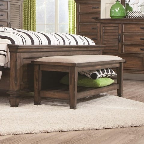Transitional Style Wooden Bed Bench with Fabric Upholstered Seat, Brown