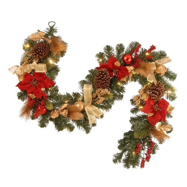 National Tree Company 72 Decorated Christmas Garland With Ornaments Berries Cones Red Ribbon Poinsettias And Led Lights