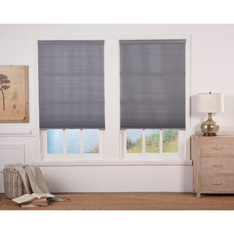 Taylor & Olive Halfway Anchor Grey/White Light Filtering Double Cellular Shade (72 Inches long)