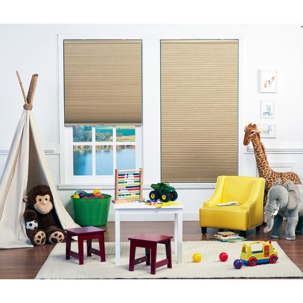 Taylor & Olive Halfway Sand/White Light Filtering Double Cellular Shade (72 Inches long). Opens flyout.