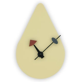 LeisureMod Manchester Cream raindrop Silent Non-Ticking Wall Clock