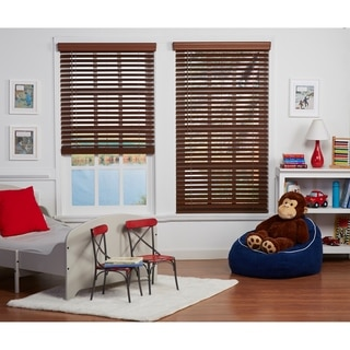 Link to Copper Grove Yerevan 48-inch Dark Oak Cordless Faux Wood Blind Similar Items in Blinds & Shades