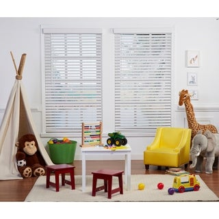 White Cordless Faux Wood Blind (48-inches long)