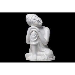 Urban Trends Ceramic Sitting Buddha Figurine with Rounded Ushnisha and Head Resting on Knee in Glaze Finish, Large - White