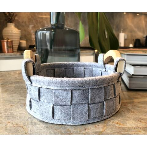 The Curated Nomad Sani Handmade Round Felt Basket