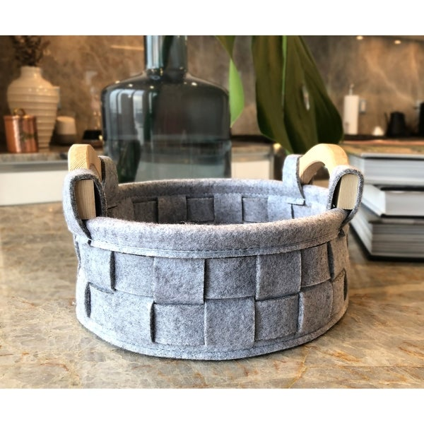 Handmade Round Felt Basket by Handcrafted 4 Home