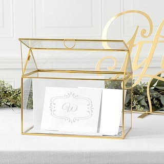 Personalized Gold Glass Terrarium Reception Gift Card Holder