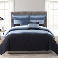 Asher Home Malika Blue and Silver Foil 7-piece Comforter Set