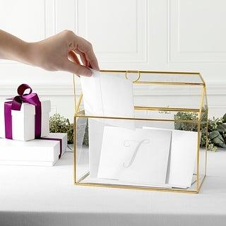 Personalized Gold Wedding Glass Terrarium Reception Gift Card Holder