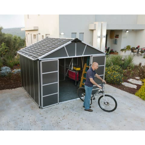 "Palram 11ft. X 9ft. Dark Grey Yukon Storage Shed w/WPC Floor Kit - 8'10"" l x 10'11"" w x 8'3"" h"